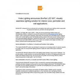 BoxRail LED 907 Vode Press Release 6-2014